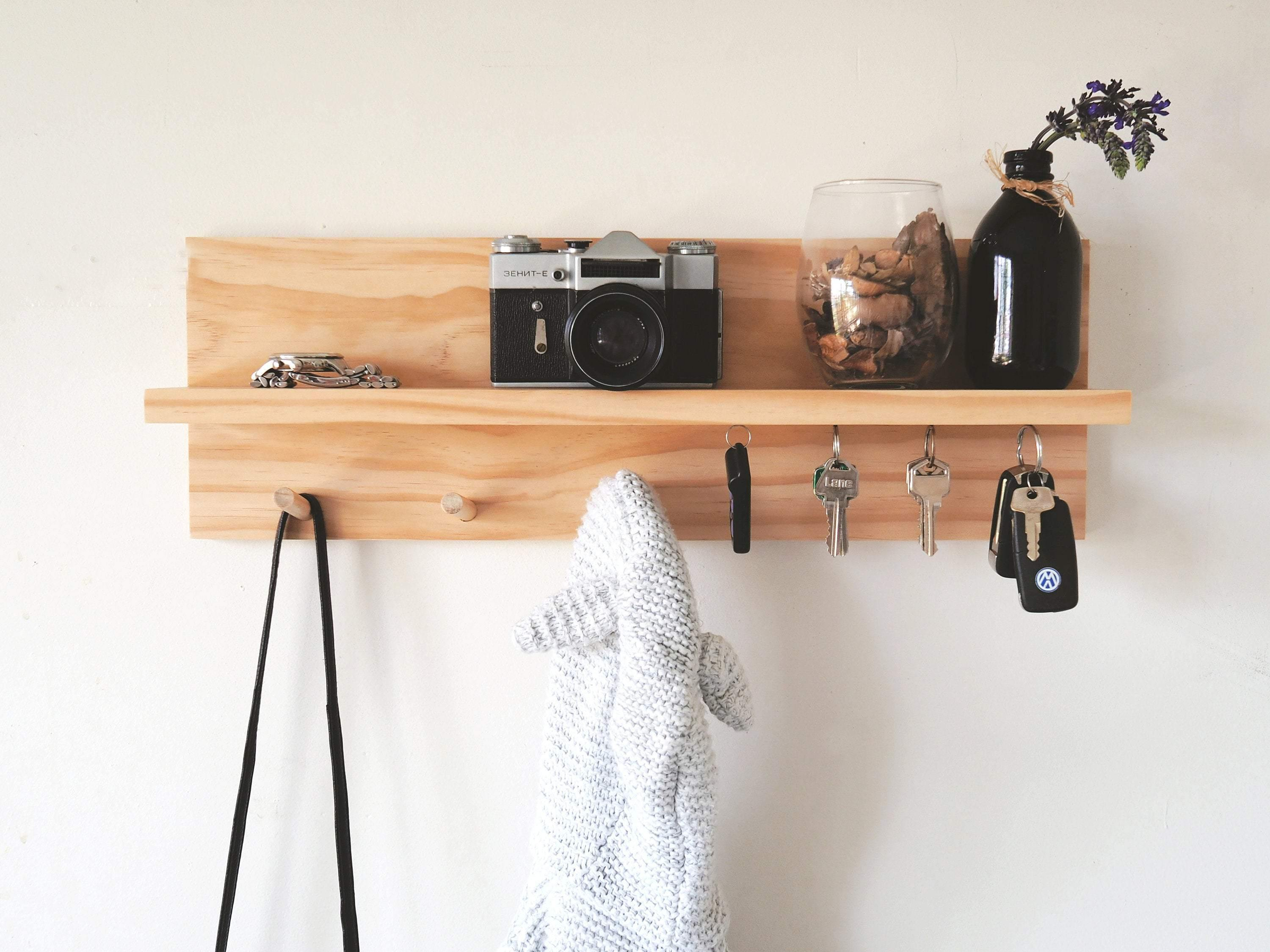 Coat Rack Entryway Shelf with Magnetic Key Holder (Pine) 40cm - Woodyoubuy