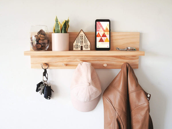 Coat Rack Entryway Organiser Shelf (Pine) 80cm - Woodyoubuy