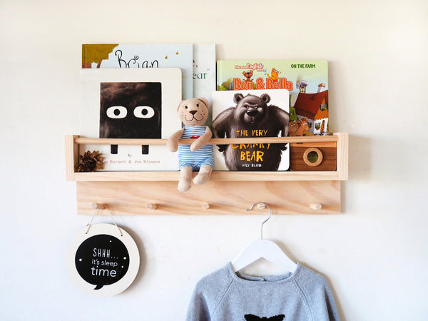 Kids Bookshelf and Coat Rack Combo (Pine) Natural Wood Colour
