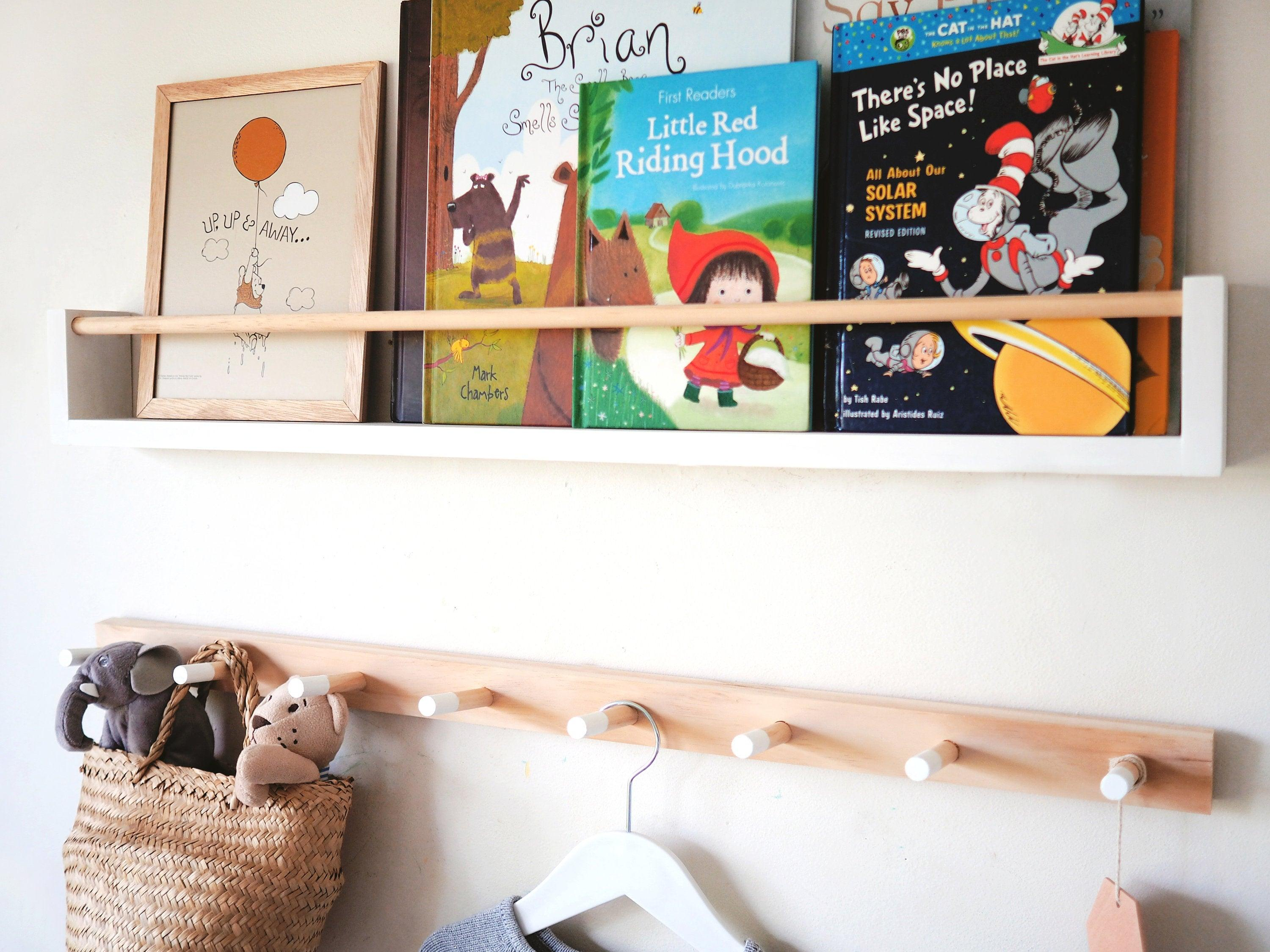 Kids Bookshelf & Peg Rail Set (Pine) White