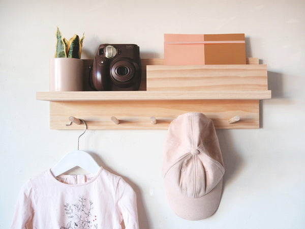 Coat Rack Entryway Organiser with Mail Holder (Pine) - Woodyoubuy
