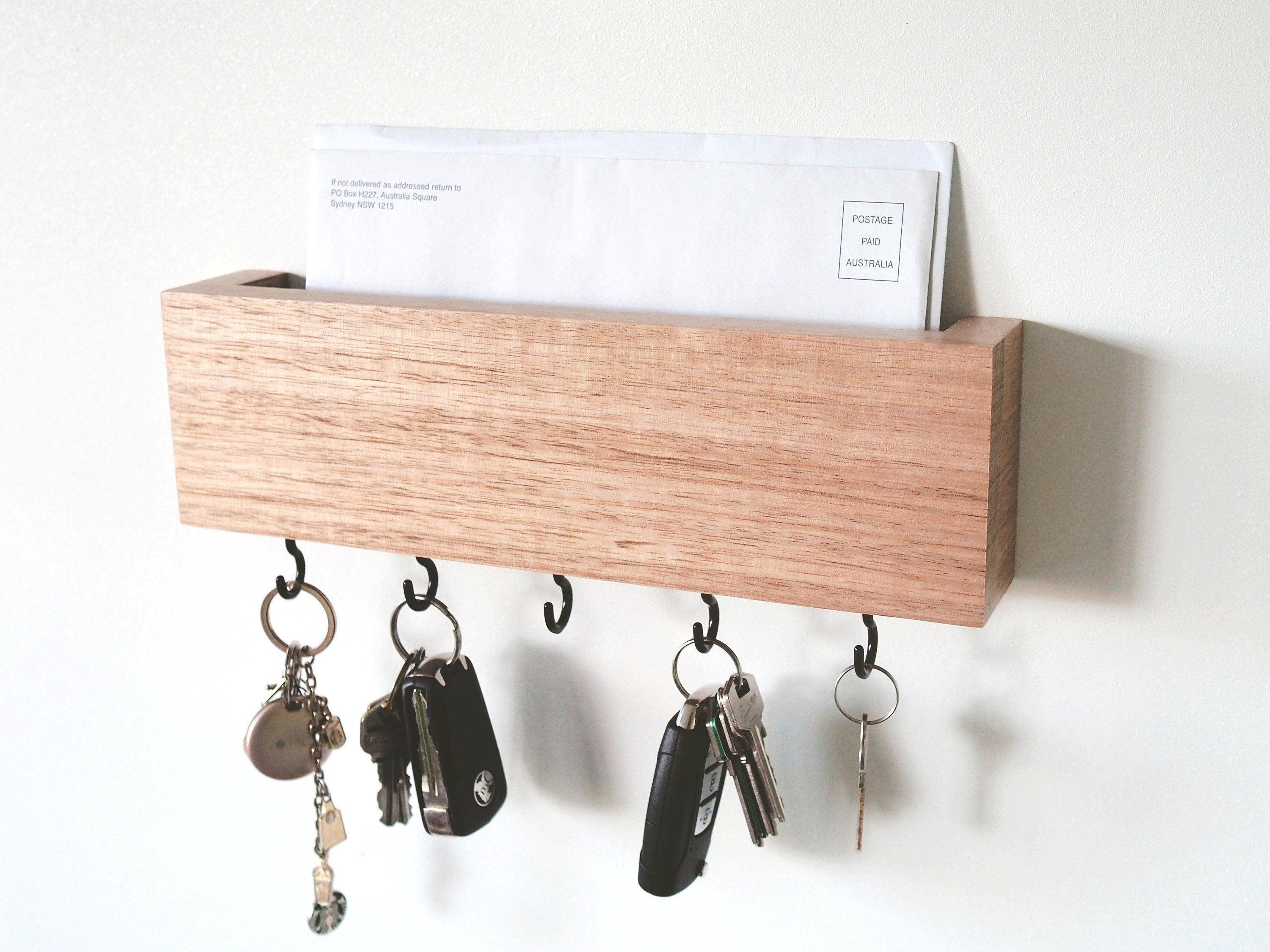 Key Holder (Hook) - Mail and Key Holder, Key Holder for Wall, Entryway Key Holder, Key Rack, Mail Organiser, Housewarming Gift