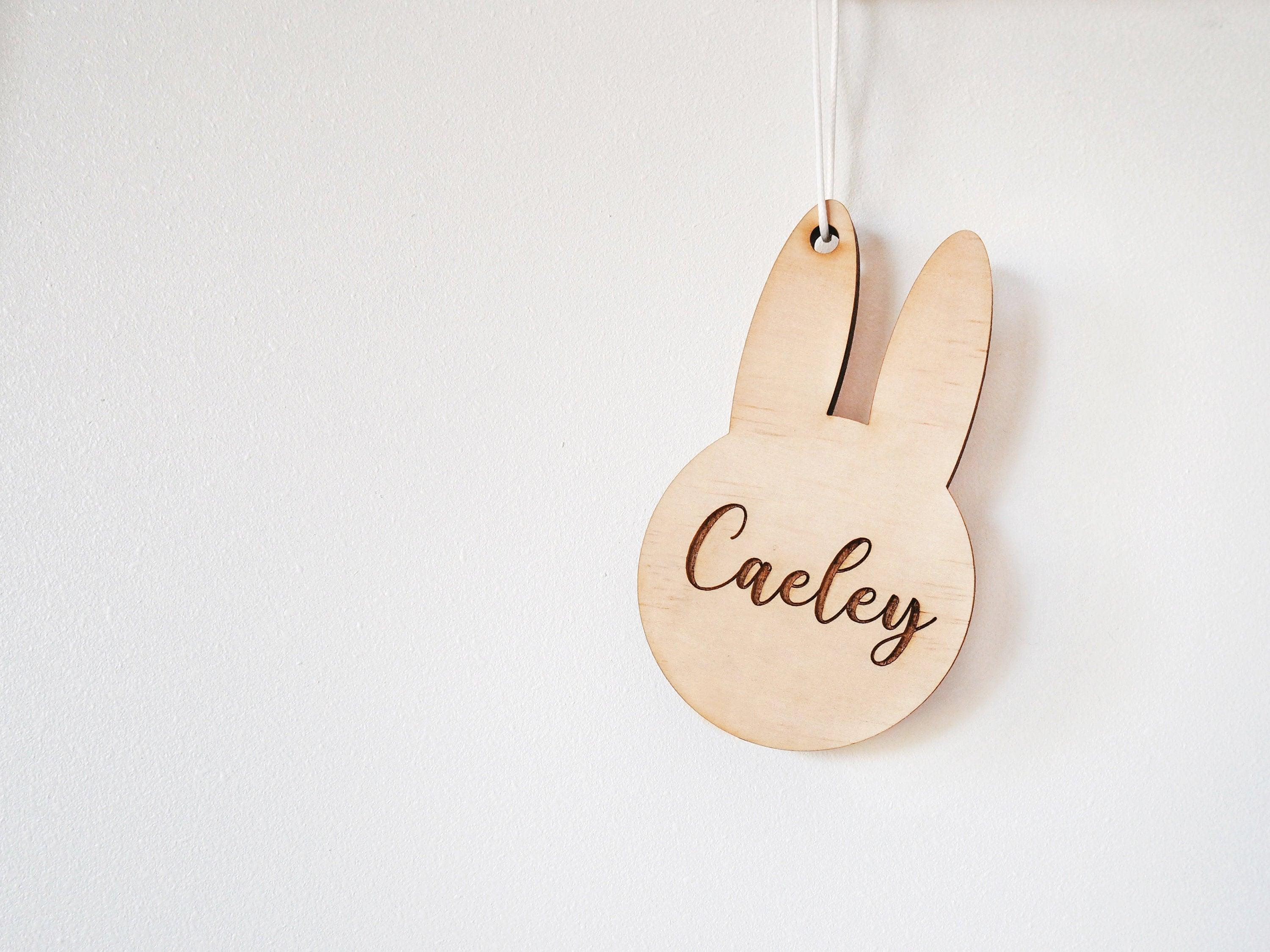 Easter Bunny Tag -  Wooden Tag, Easter, Personalised Easter Tags, Basket Tags, Egg Hunt, Easter, Bunny Tags, Name Tags