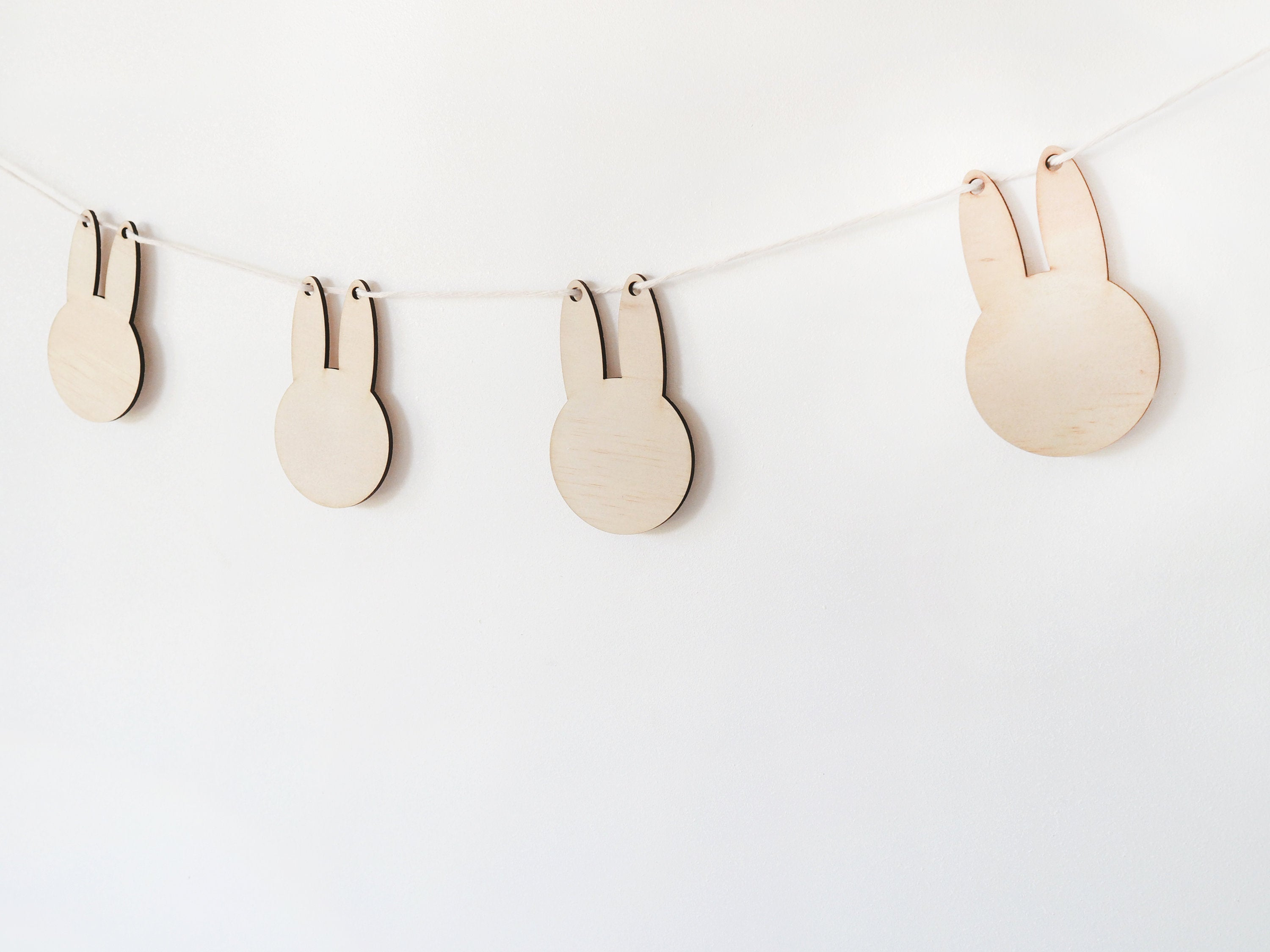 Bunny Easter Garland - Wooden Bunny Garland, Easter Garland, Easter Banner, Easter Decorations, Garland for Mantle, Easter Bunny Garland