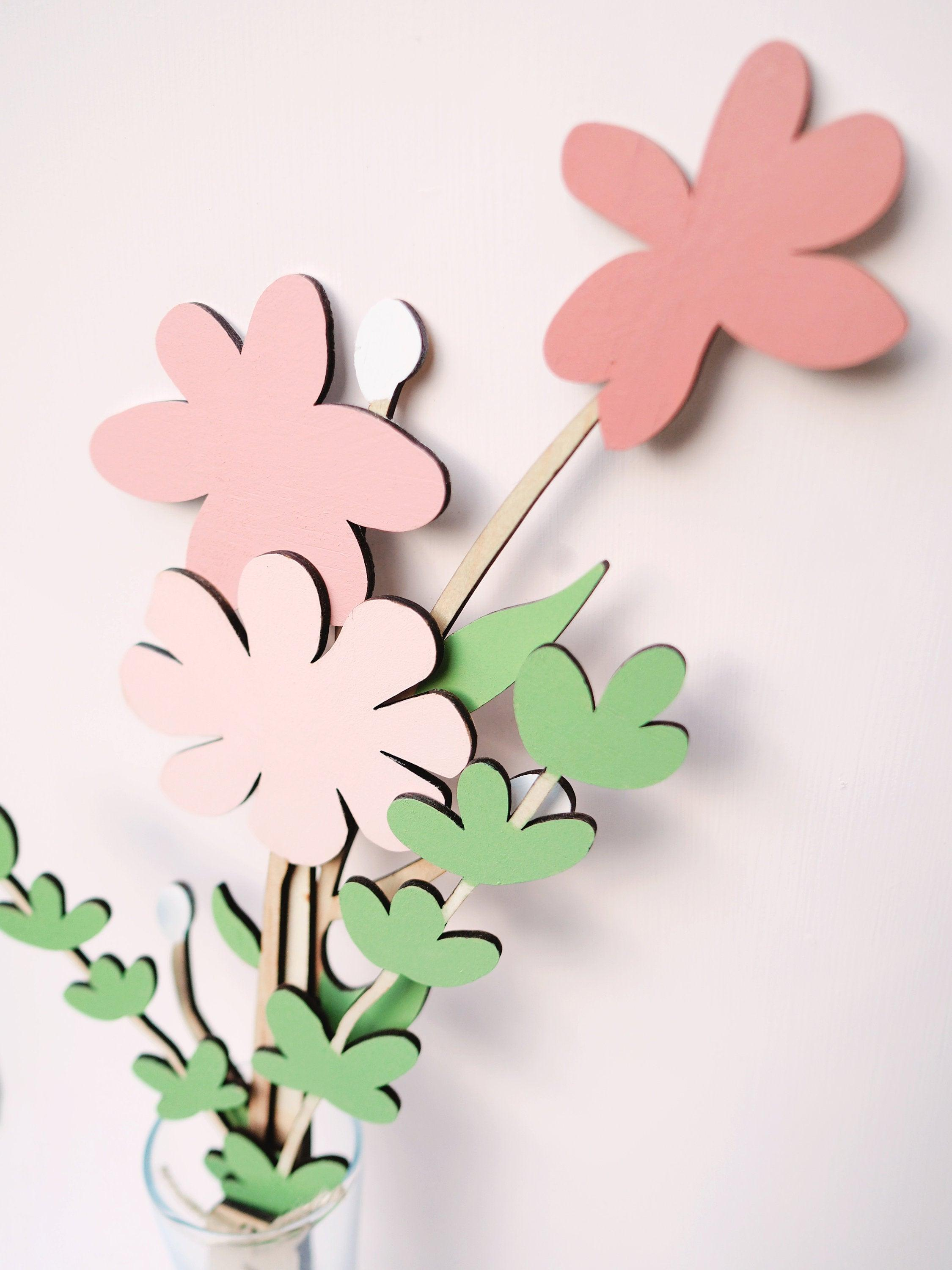 Wood Flowers for Mothers Day - Wooden Flower, Plywood Flowers, Wood flowers, Laser cut flowers, wood flower bouquet, laser cut wood