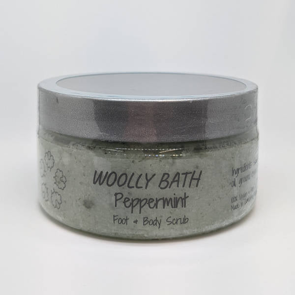 Peppermint Body Sugar Scrub by Woolly Bath.