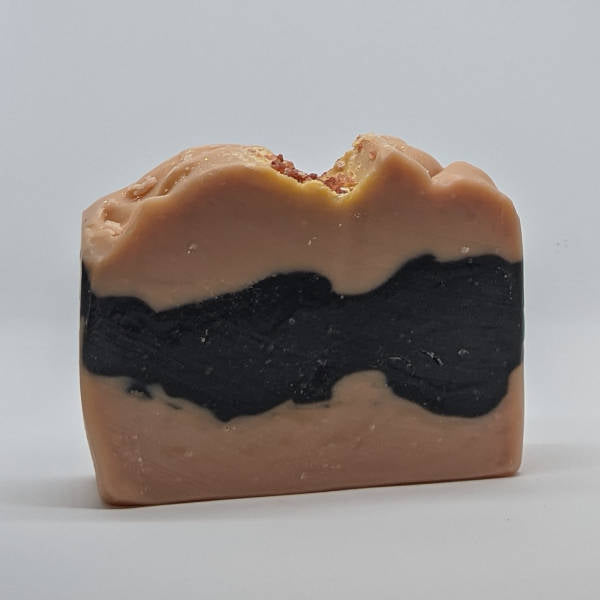 Rose clay and activated charcoal face and body soap.