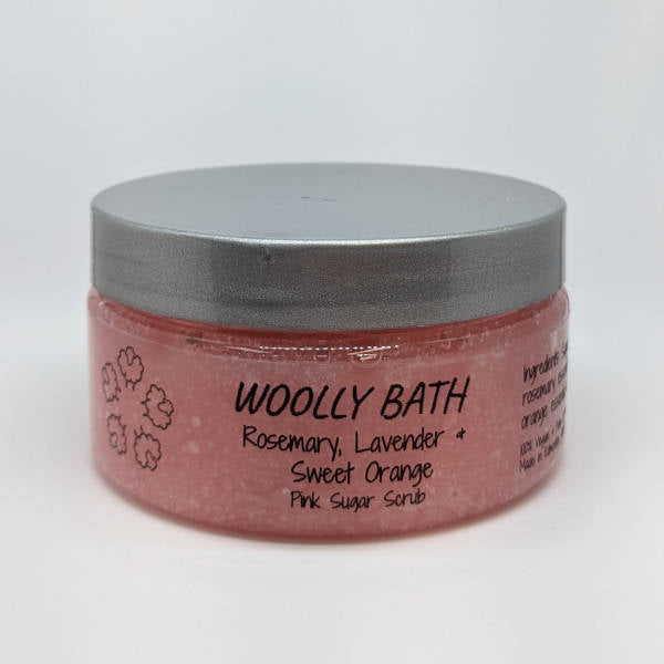 7.75oz Pink Sugar Scrub by Woolly Bath.
