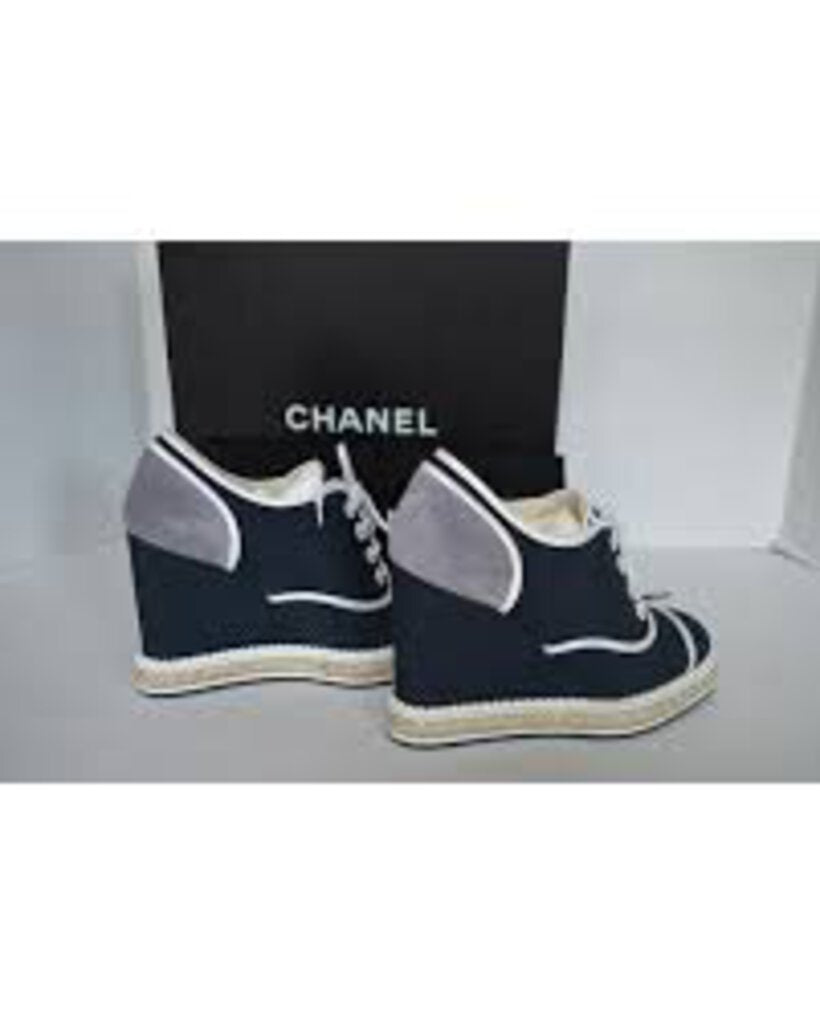 Chanel Navy and Gray Lace Up Wedges with pearl detailing. Sueded detailing on the back. Orig. Retail $975 - Labels Designer Resale