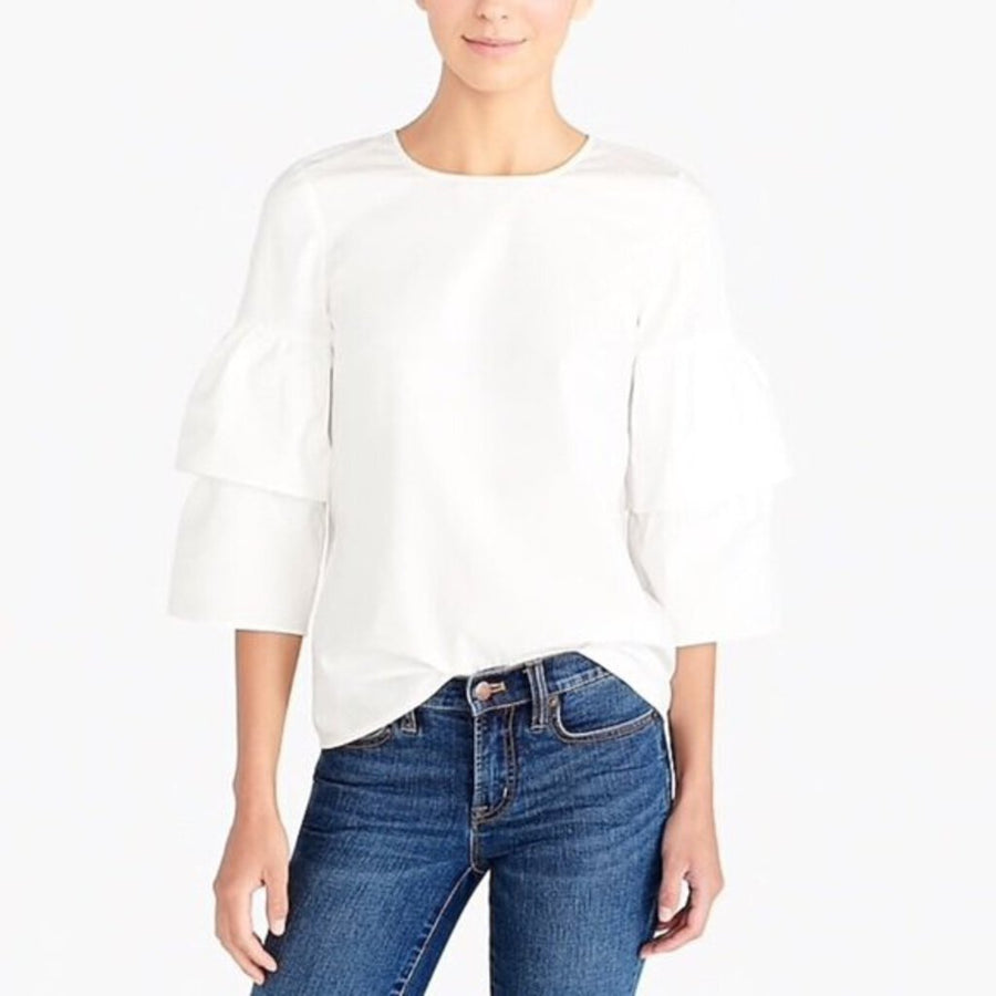 Cotton Ruffle Slv Top - Labels Designer Resale