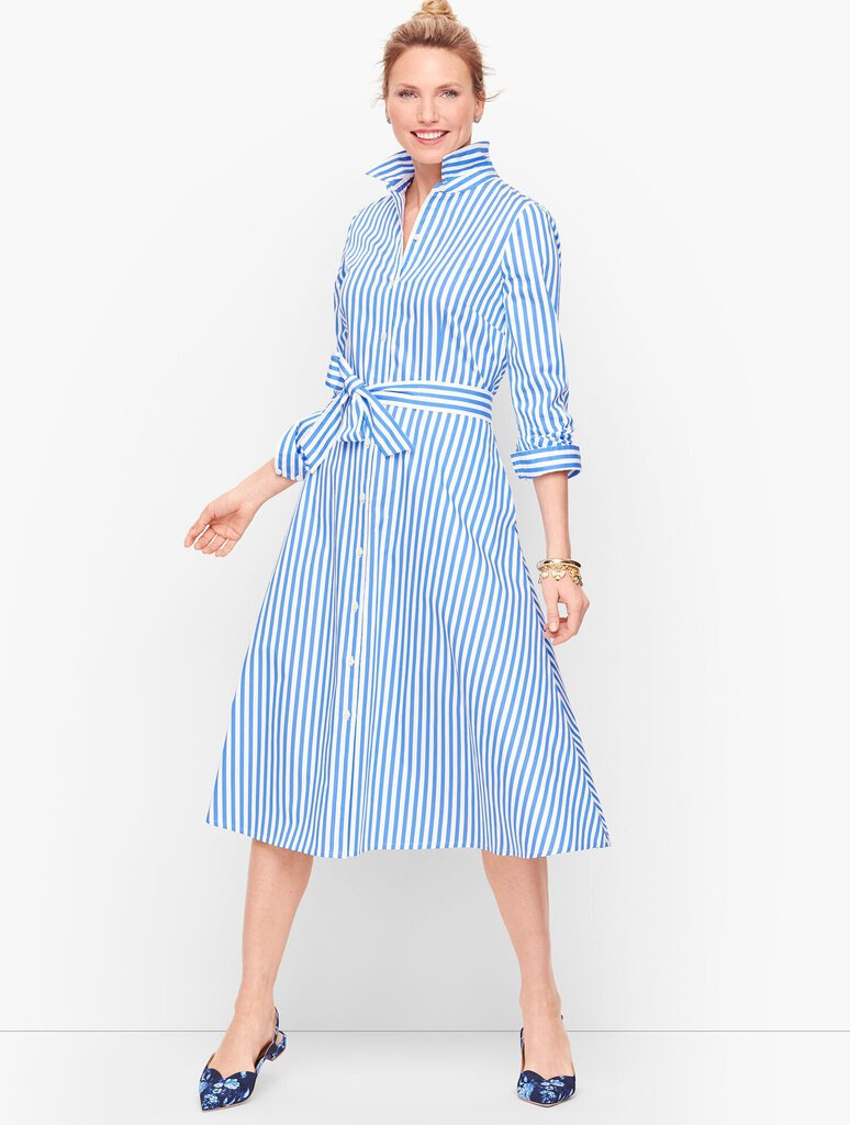 Talbots Classic Poplin Shirtdress - Vertical Stripe