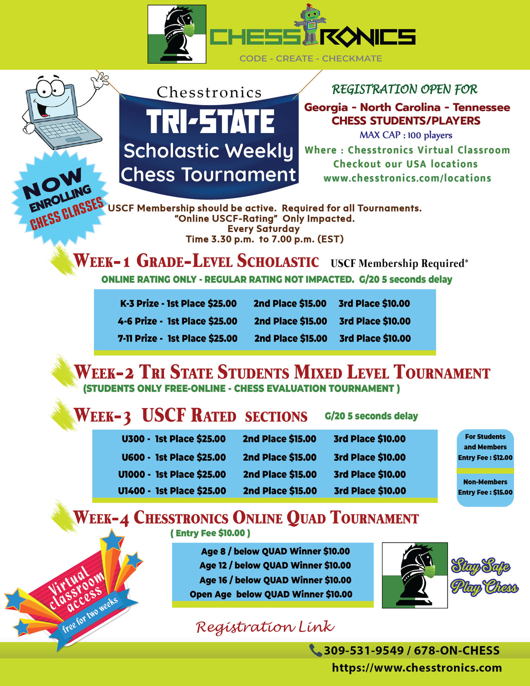 K-12 Tri-State-East Online USCF Rated Tournament - Every Week Saturday (4.00 p.m. to 7.00 p.m. EST)