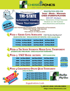 K-12 Tri-State-Central Online USCF Rated Tournament - Every Week Saturday (4.00 p.m. to 7.00 p.m.)