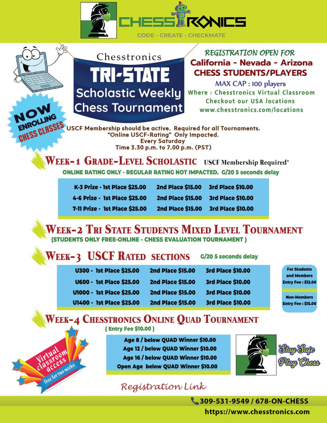 K-12 Tri-State-West Online USCF Rated Tournament - Every Week Saturday (4.00 p.m. to 7.00 p.m. PST)