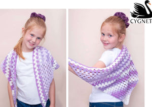 Cygnet Kiddies Couture DK Prints - Violet Couture Girls Shawl (Crochet)