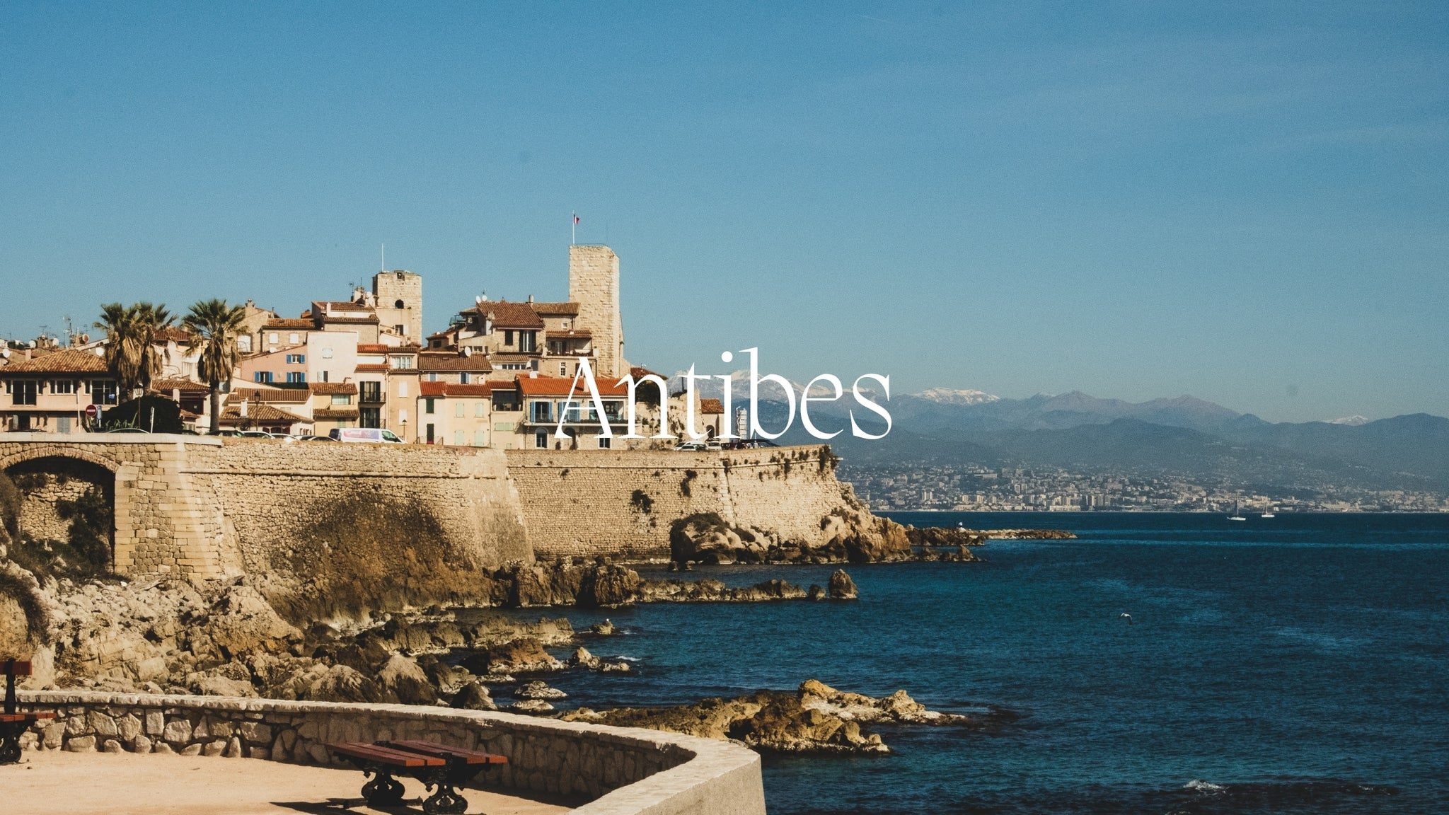 Image of the sea side of Antibes with the name Antibe written on it