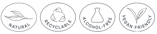 Four circles with an icon and text in each. The first has a leaf with the text natural, the second with three leaves and the text recyclable, the third with a bottle and the text alcohol-free and the fourth with a plant with two leaves and the text vegan friendly