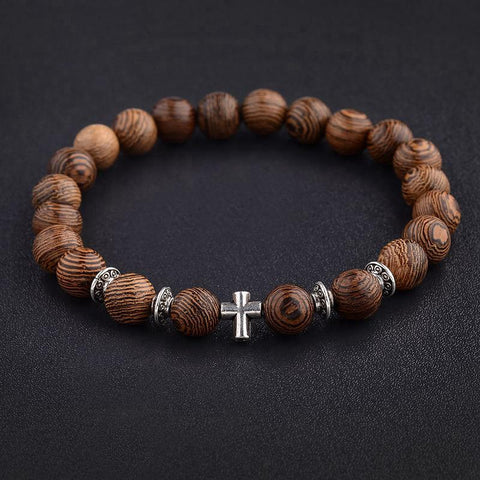 <transcy>Wood Beads Bracelet</br> Christian cross</transcy>