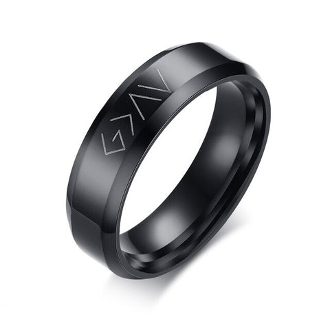 Bague Religieuse Noir <br>God Is Greater Than The Highs And The Lows