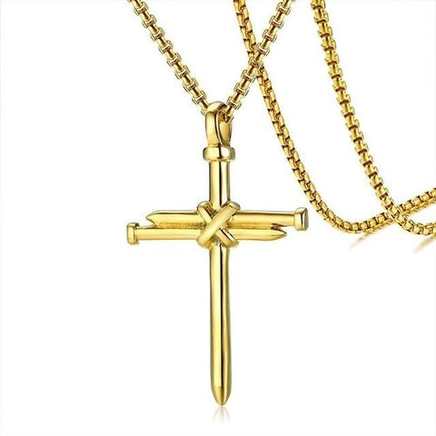 Collier Croix Homme<br> Clous Or