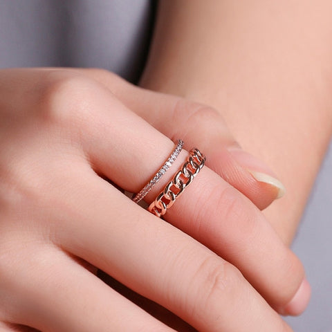Double Bague<br> Chainette Or Rose