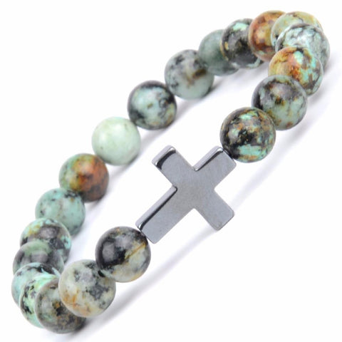 <transcy>Religious Bracelet<br> Patterned Cross and Beads</transcy>