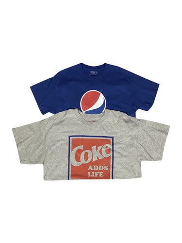 An image of two different wholesale vintage drink-themed t-shirts