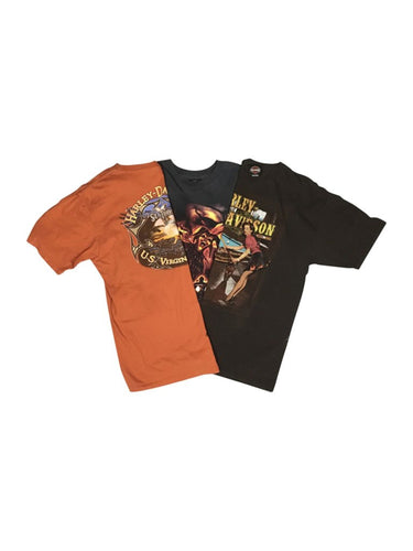 An image of three different Harley-Davidson wholesale vintage t-shirts