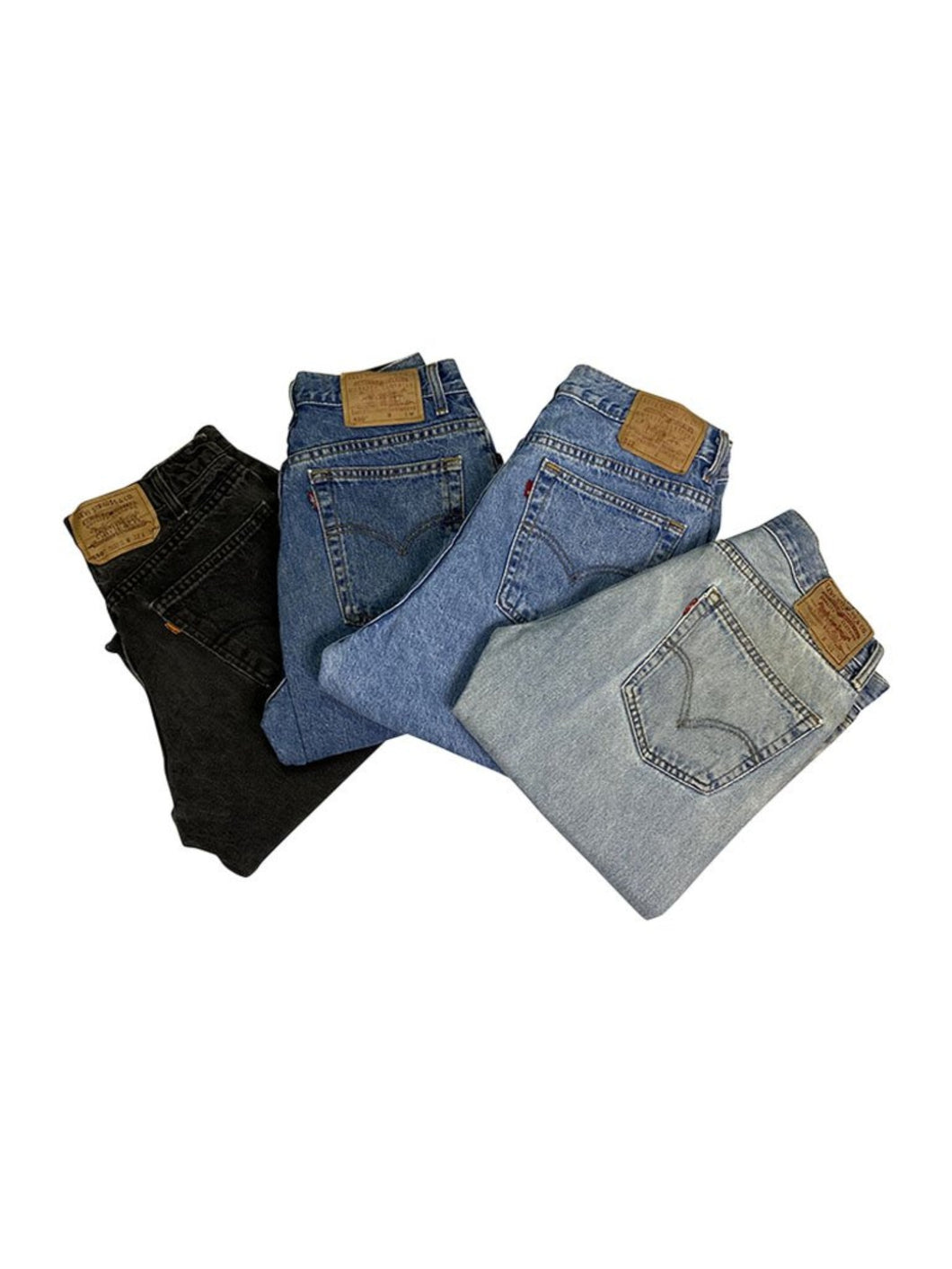 An image of four different pairs of men's vintage denim jeans from Levi Straus