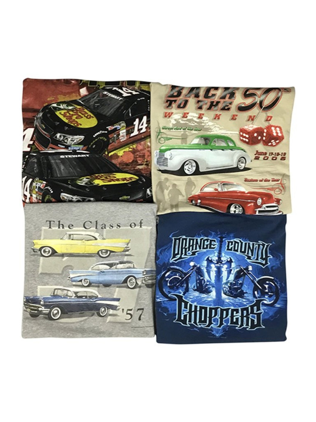 An image of three different NASCAR/moto-themed wholesale vintage t-shirts