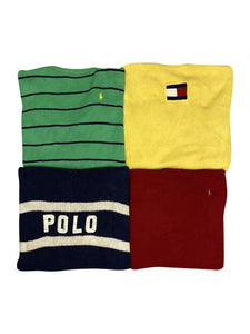 An image of four different vintage Ralph Lauren and Tommy Hilfiger cotton crewneck knit sweaters.