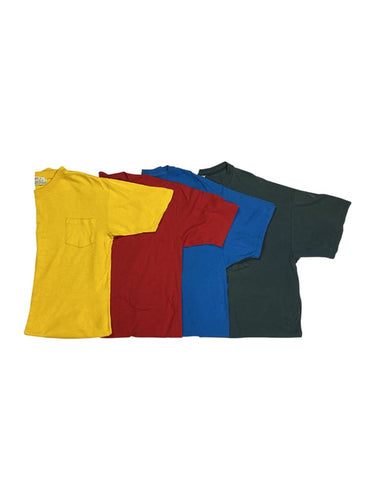 An image of four different solid color vintage t-shirts