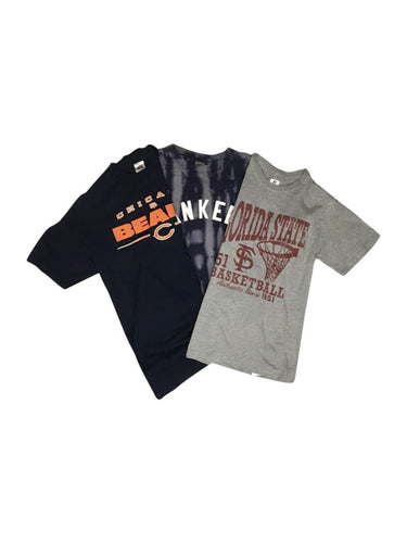 An image of three different vintage apparel sport and university tees