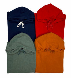 An image of four different vintage men's hooded sweatshirts