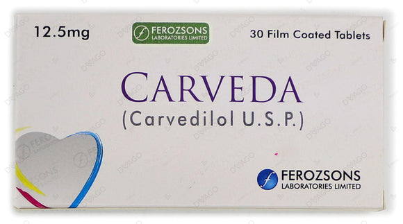Carveda Tablets 6.25mg 3X10's