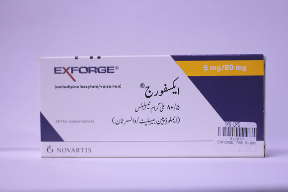 Exforge Tablets 5/80mg 28's (Amlodipine, Valsartan)
