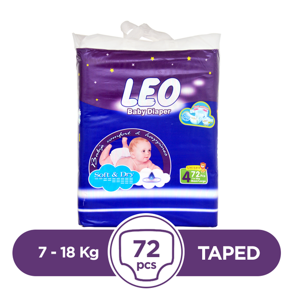 Leo Taped 7 To 18kg 72Pcs
