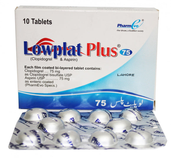 Lowplat Plus Tablets 75/75mg 10's (clopidogrel)