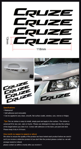 4x Brand New Logo For Cruze Car Door Handles Special Stickers Graphic Decals