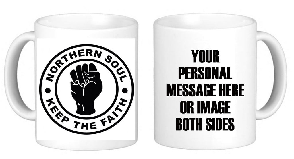 PERSONALISED NORTHERN SOUL MUG + PERSONAL MESSAGE GIFT NOVELTY BIRTHDAY