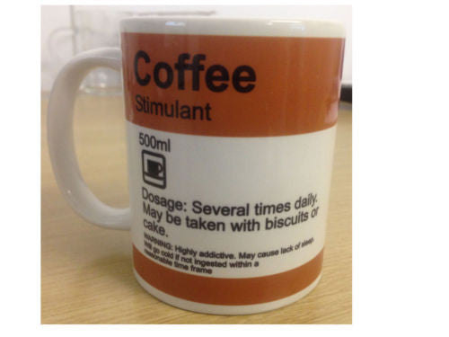 """COFFEE - Stimulant"" Funny prescription style MUG - personalised"