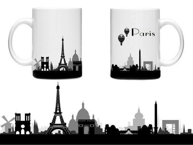 Beautiful Paris France Souvenir Mug Cup Eiffel Tower Arc d'Triumph