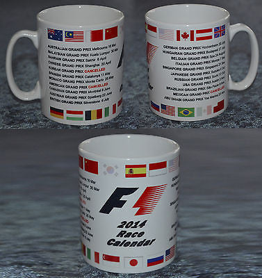2014 Formula 1 Fixtures Mug - Great Xmas Birthday Gift For F1 Fans