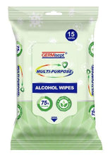 Load image into Gallery viewer, Germisept Multi-Purpose Alcohol Wipes (15 Count Packs) + Spray Bundle