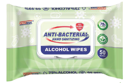 Germisept Antibacterial Alcohol Wipes (50 Count Packs) + Spray Bundle