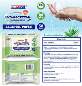 Case of Germisept Multi-Purpose Antibacterial Alcohol Wipes (50 Count) (24 Packs)
