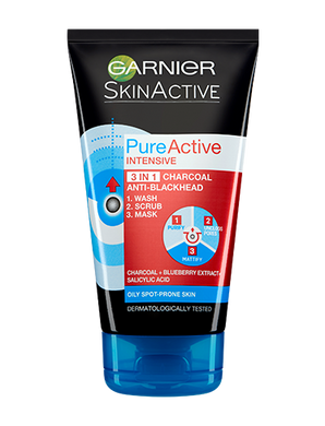Garnier Pure Active 3-in-1 Charcoal Wash, Scrub and Mask - Mrayti Store