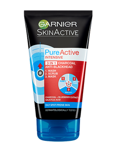 Garnier Pure Active 3-in-1 Charcoal Wash, Scrub and Mask