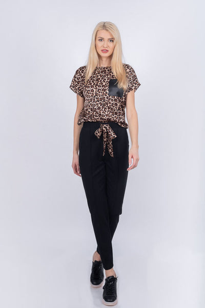 Bluza casual din satin animal print B4110 - Caramel
