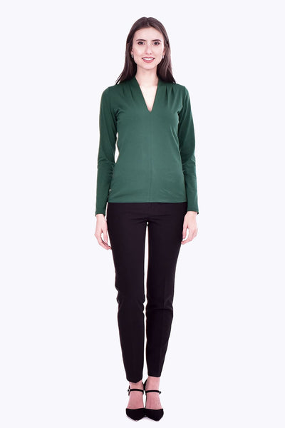 Bluza casual in V verde B4943
